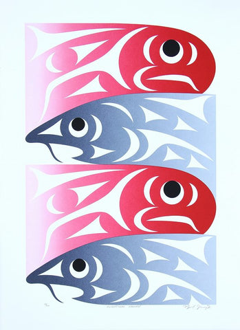 Serigraph Kwikwetlem Harvest by Maynard Johnny Jr. Northwest Coast Artist from Coast Salish