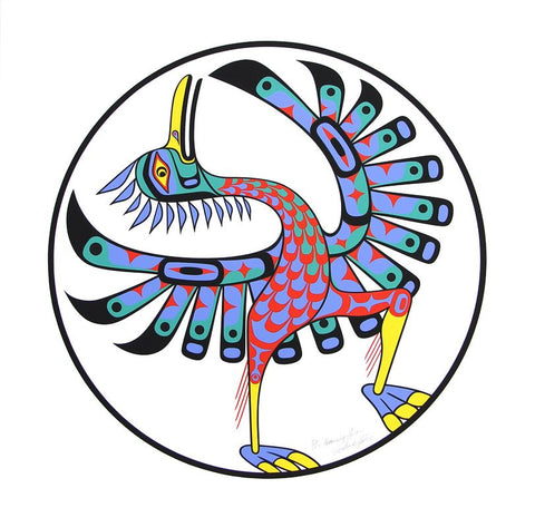 Serigraph Dancing Heron by Richard Hunt Northwest Coast Artist from Kwakwaka'wakw