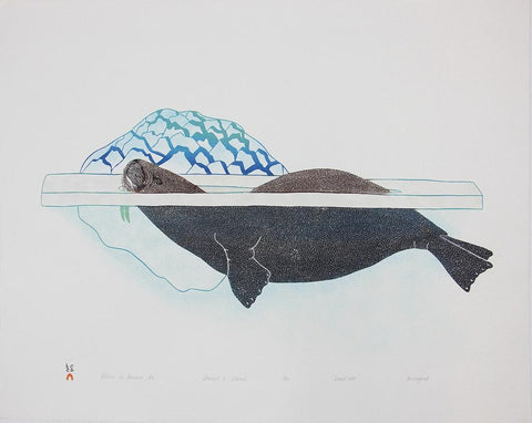 Walrus In Pressure Ice by Kananginak Pootoogook 600 Artist from Cape Dorset, 1989