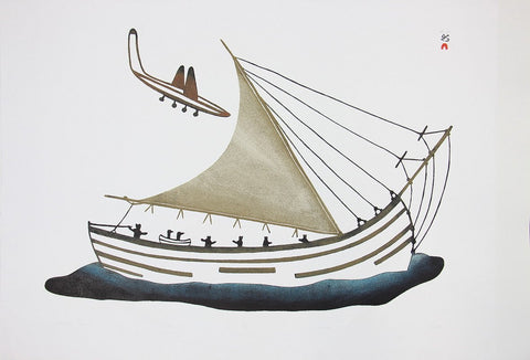 Stowaway Loons by Pudlo Pudlat 600 Artist from Cape Dorset, 1985