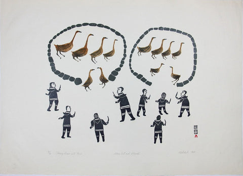 Chasing Geese Into Pens by Kiakshuk 600 Artist from Cape Dorset, 1964