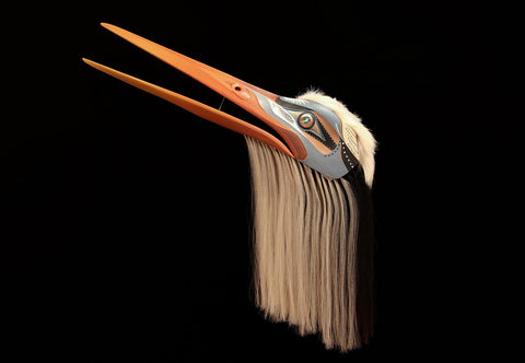 Red Cedar, Horse Hair, Copper, Abalone Blue Heron by Simon Dick Northwest Coast Artist from Kwakwaka'wakw