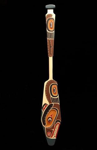 Yellow Cedar Bear Paddle by Bill Henderson Northwest Coast Artist from Kwakwaka'wakw