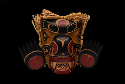 Red Cedar, Cedar Bark Black Bear by Bill Henderson Northwest Coast Artist from Kwakwaka'wakw