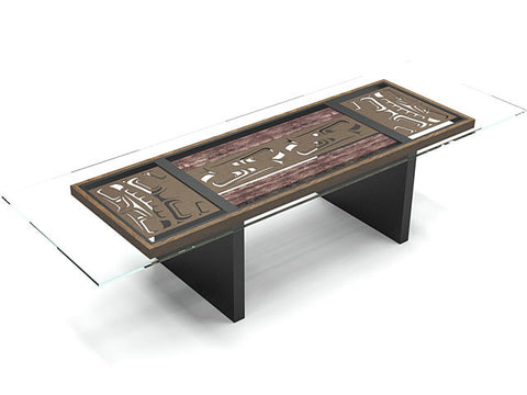Harvest Table, laser cut bronze anodized aluminum motifs