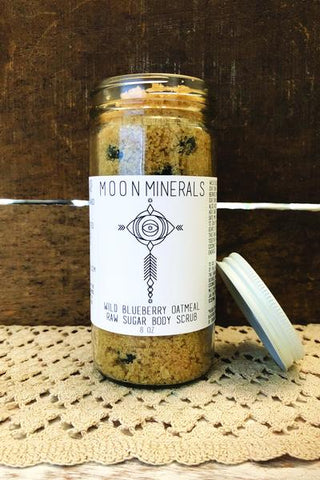 Wild Blueberry Oatmeal Raw Sugar Body Scrub 4oz - Moon Minerals