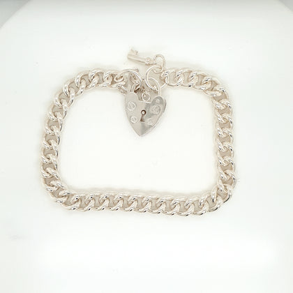 925 Silver Charm Bracelet w/Heart Approx 27.3g Preowned