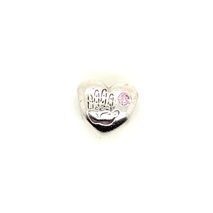 925 Silver Pandora Its a Girl with Gem Charm Approx 3.7g Preowned