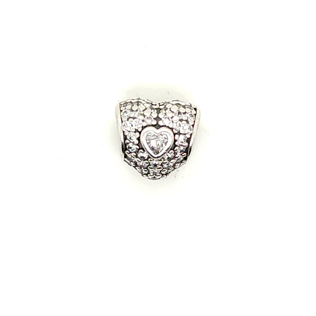 925 Silver Pandora Heart with Gem Charm Approx 1.9g Preowned