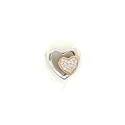 925 Silver Pandora Double Heart Charm Approx 3g Preowned