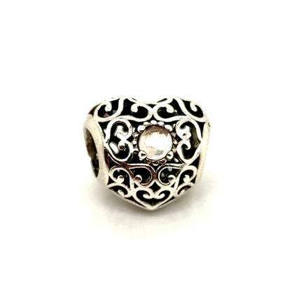 925 Silver Pandora Heart Charm with White Faceted Stone Approx 1.6g Preowned
