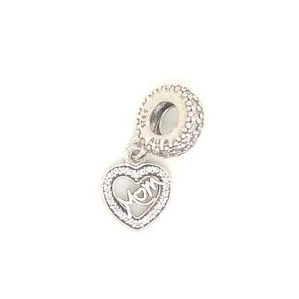 925 Silver Pandora Mum Heart Charm Approx 1.8g Preowned