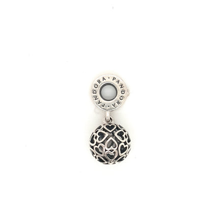925 Silver Pandora Ball of Hearts Charm Approx 3.3g Preowned