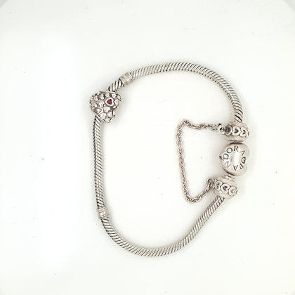 925 Silver Pandora Bracelet with Two Charms Approx 23.1g