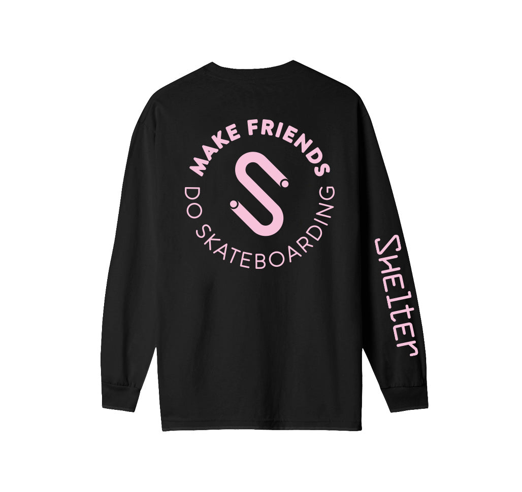 Make Friends Do Skateboarding Black ML