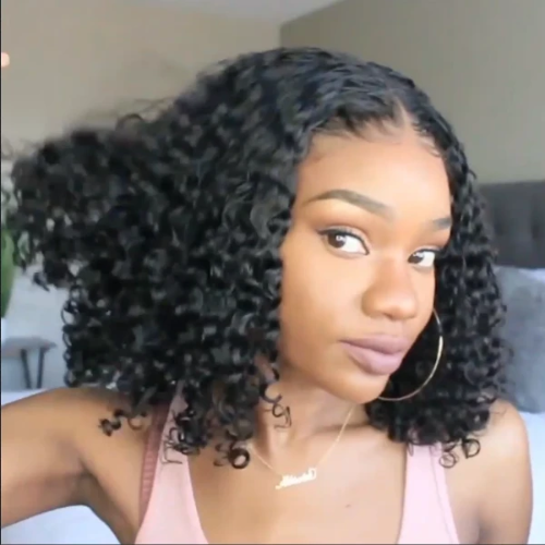 CB107| Natural Looking Preplucked Curly Hair Bob Wig