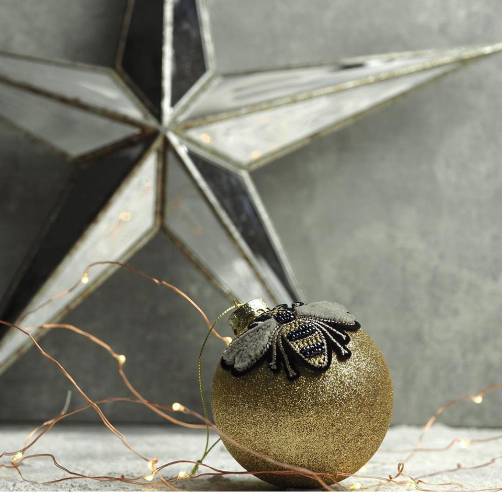 Bee Gold Glitter Bauble