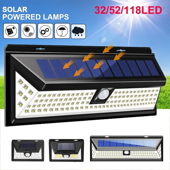 1/2PCS Solar Lights 32/52/118LED Wall Solar Light Outdoor Security Lighting Nightlight Waterproof IP65 Motion Sensor Detector