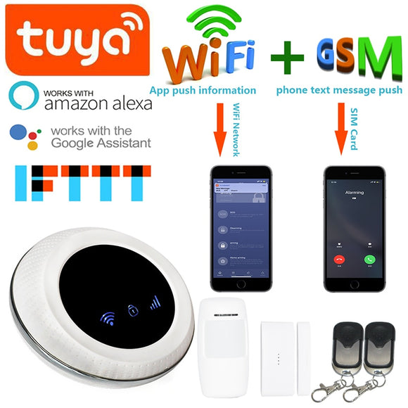 buyonlinesa - Wofea Wireless SIM GSM Home Burglar Security WIFI GSM Alarm System Sensor kit tuya APP built in siren - Home Defence