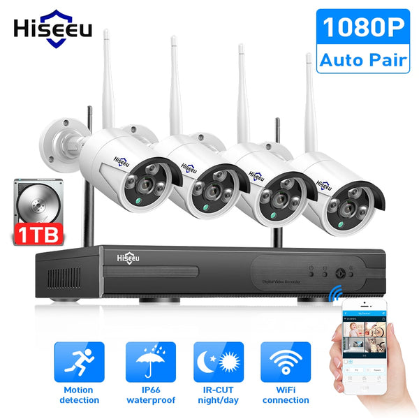 buyonlinesa - Hiseeu 8CH Wireless CCTV System 1080P 1TB 4pcs 2MP NVR IP IR-CUT outdoor CCTV Camera IP Security System Video Surveillance Kit - Home Defence
