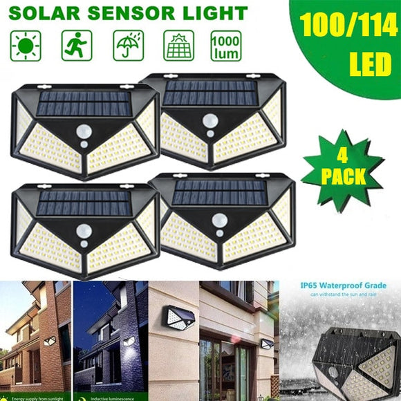 DIDIHOU 100 LED Four-Sided Solar Power Light 3 Modes 270 Degree Angle Motion Sensor Wall Lamp Outdoor Waterproof Garden Lamps
