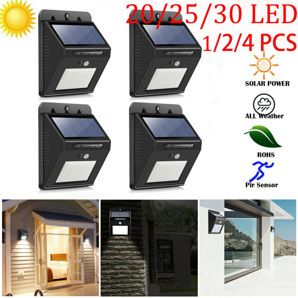 20/25/30 LED Solar Powered PIR Motion Sensor Light Outdoor Garden Wall Lamps IP65 Waterproof Outdoor Led Sun Powered