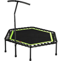 "48"" Silent Mini Trampoline with Adjustable Handle Bar Fitness Trampoline Bungee Rebounder Jumping Cardio Trainer Workout"