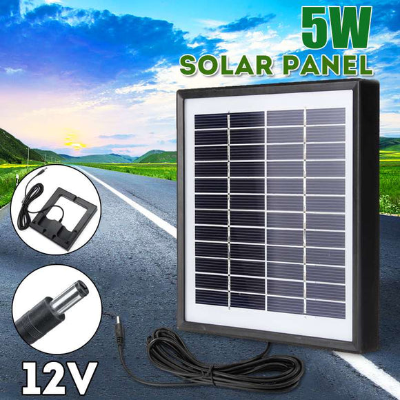Outdoor 3 Meter Cable Solar Panel 5W 12V Portable Solar Charger Fast Charger Polysilicon Tablet Solar Generator for Light Camera