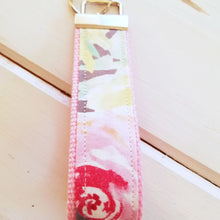 Load image into Gallery viewer, Pink Rose Wristlet Keychain - Wrist Keyring - Pink Fabric Wristlet Key ring - OhKoey