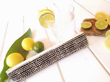 Load image into Gallery viewer, Reusable Drinking Straw Case - Personalized  Reuse Straw Pouches in Grey Herringbone - OhKoey