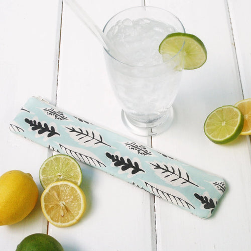 Reusable Drinking Straw Case - Personalized  Reusable Straw Pouches in Green Leaf Pattern - OhKoey