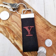 Load image into Gallery viewer, Black Linen Personalized Wristlet Key Ring • Custom Wrist Keychain • Monogrammed Keyring - OhKoey
