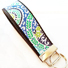 Load image into Gallery viewer, Darlin Damask Wristlet KeyRing - Wrist Key chain - Paisley Fabric Wristlet Key ring - OhKoey
