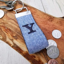 Load image into Gallery viewer, Herringbone Wristlet Key Ring - Personalized Wrist Keychain - Monogrammed Keyring - OhKoey
