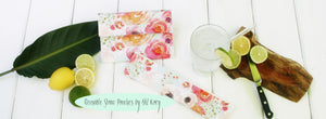 Reusable Drinking Straw Case - Personalized Straw Pouch in Watercolor Flower - OhKoey