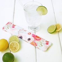 Load image into Gallery viewer, Reusable Drinking Straw Case - Personalized Straw Pouch in Watercolor Flower - OhKoey