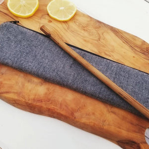 Reusable Drinking Straw Case - Personalized  Reuse Straw Pouches in Grey Herringbone - OhKoey
