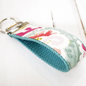 Girly Girl Wristlet KeyRing - Wrist Key chain - Paisley Fabric Wristlet Key ring - OhKoey