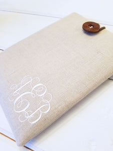 Kindle Paperwhite Case - Personalized Kindle Sleeve in Monogram Linen - OhKoey