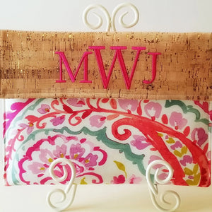 Personalized Macbook Case, Monogram Laptop Sleeve in Cork and Raspberry Sorbet - OhKoey