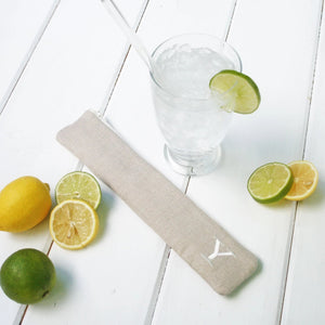 Monogrammed Reusable Straw Case - Personalized Linen Drinking Straw Pouch - OhKoey
