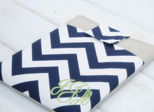 Load image into Gallery viewer, Monogrammed Blue Chevron Macbook Pro Case- Personalized Linen Laptop Sleeve with Pocket - OhKoey