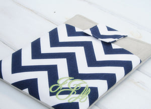 Monogrammed Blue Chevron Macbook Pro Case- Personalized Linen Laptop Sleeve with Pocket - OhKoey