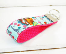 Load image into Gallery viewer, Blue Peacock Wristlet Keychain • Wrist Key chain • Fabric Wristlet Keyring - OhKoey