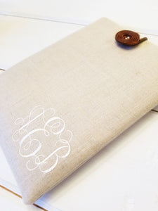 Monogrammed Macbook Sleeve - Personalized Macbook Case in Linen - OhKoey