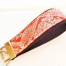 Load image into Gallery viewer, Mango Damask Wristlet KeyRing - Wrist Keychain - Fabric Wristlet Key ring - OhKoey