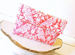Kindle Cover - Custom Kindle Paperwhite Sleeve in Coral Pink Damask - OhKoey
