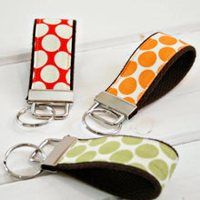 Load image into Gallery viewer, Polka Dot Wristlet Key Ring - Personalized Wrist Keychain - Monogrammed Keyring - OhKoey