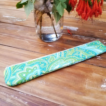 Load image into Gallery viewer, Ocean Green Paisley Reusable Straw Pouch - Personalized Reusable Straw Bag - OhKoey
