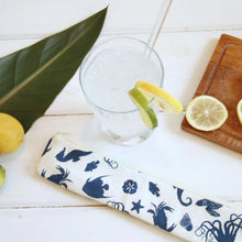 Load image into Gallery viewer, Reusable Straw Case - Sea Life Straw Pouches in Ocean Turtle pattern - OhKoey